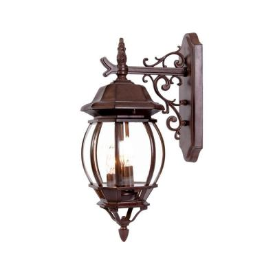 Chateau Collection 3-Light Burled Walnut Outdoor Wall Lantern Sconce