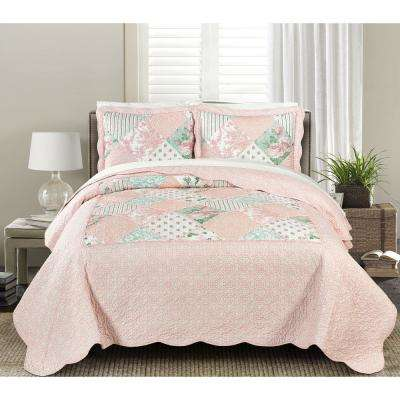 Julienne Soft 3-Piece Pink Full/Queen Quilt Set