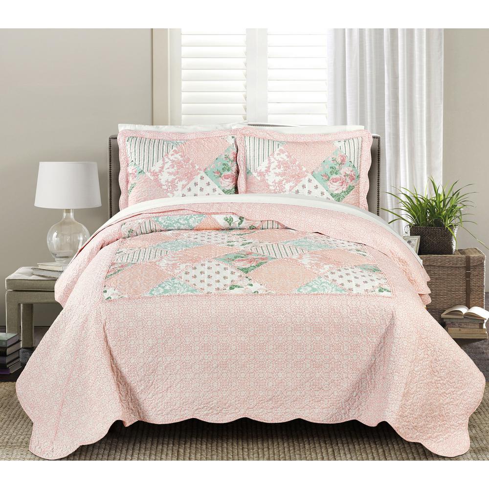 Superieur Blissful Living Julienne Soft 3 Piece Pink Full/Queen Quilt Set