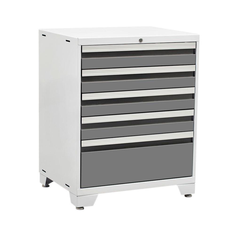 Pro 3 Series 37 in. H x 28 in. W x 22 in. D 18-Gauge Welded Steel 5-Drawer Tool Cabinet in Platinum