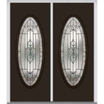 60 in. x 80 in. Cadence Right-Hand Inswing Oval Lite Decorative Glass Painted Fiberglass Smooth Prehung Front Door