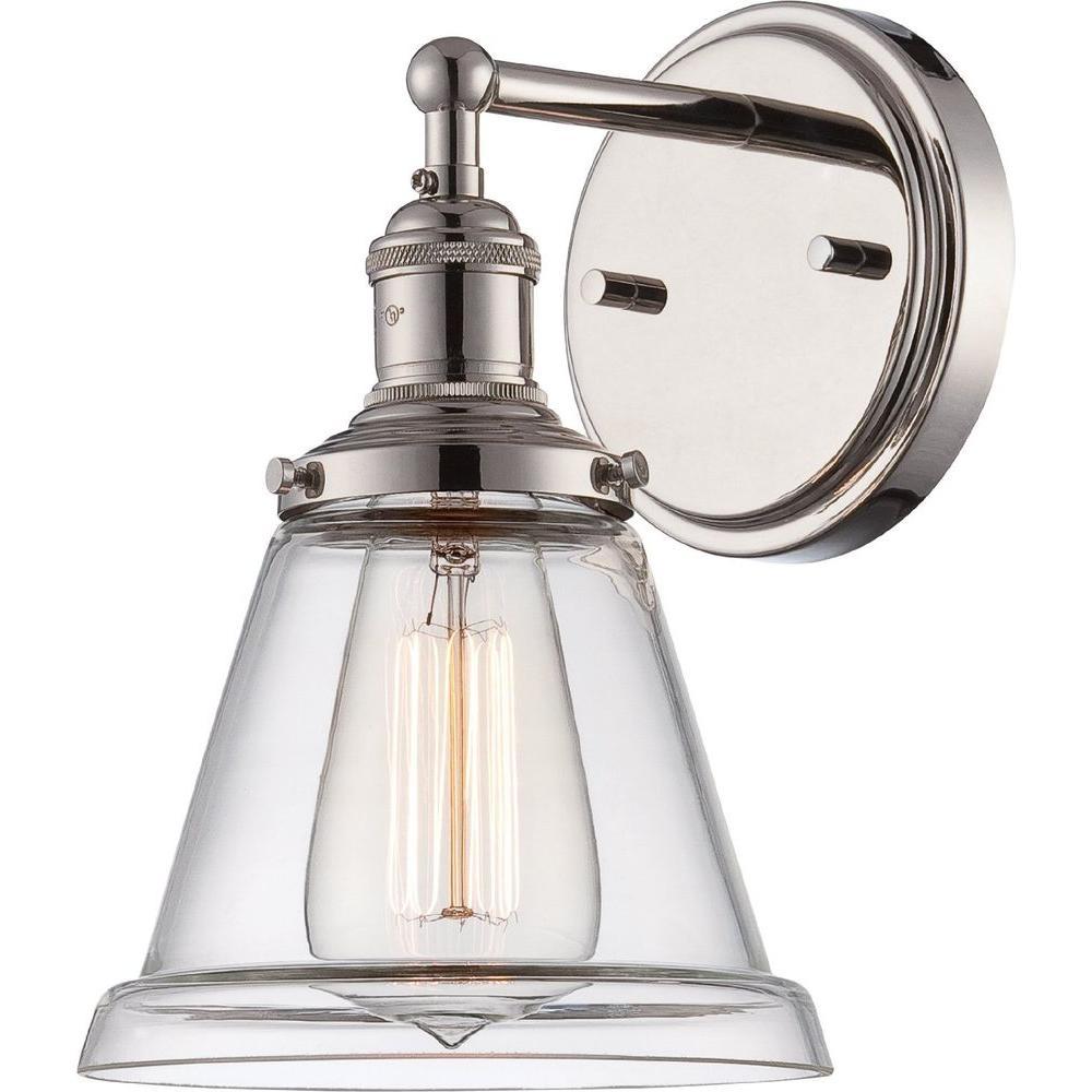 Glomar 1 Light Polished Nickel Incandescent Sconce
