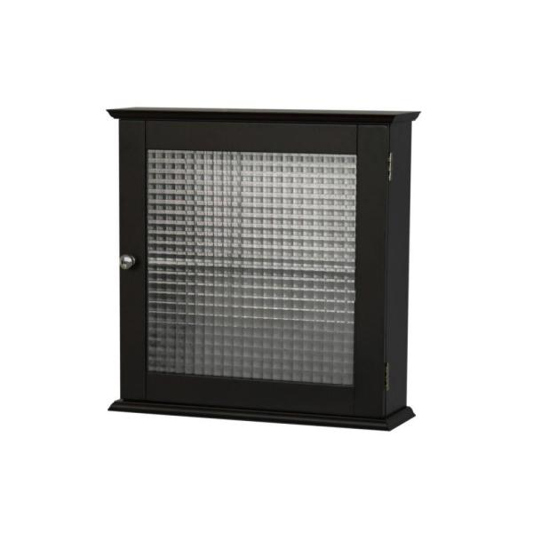 Cape Cod 18-1/2 in. W x 18-1/2 in. H Framed Surface-Mount Bathroom Medicine Cabinet with Glass Door in Espresso