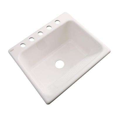 Kensington Drop-In Acrylic 25 in. 5-Hole Single Bowl Utility Sink in Almond