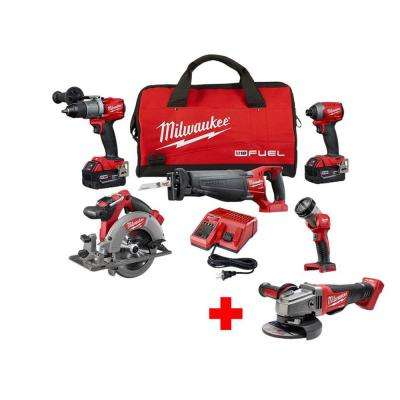 M18 FUEL 18-Volt Lithium-Ion Brushless Cordless Combo Kit (5-Tool) with Free M18 FUEL Grinder with Paddle Switch