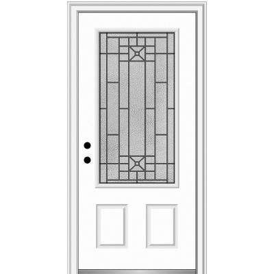 36 in. x 80 in. Courtyard Right-Hand 3/4-Lite Decorative Primed Fiberglass Smooth Prehung Front Door on 6-9/16 in. Frame