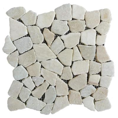 12 in. x 12 in. White Stone Mosaic Pebble Floor and Wall Tile (5.0 sq. ft. / case)