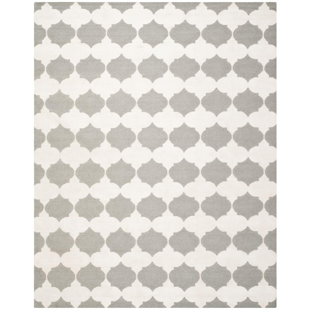 Dhurries Gray/Ivory 9 ft. x 12 ft. Area Rug