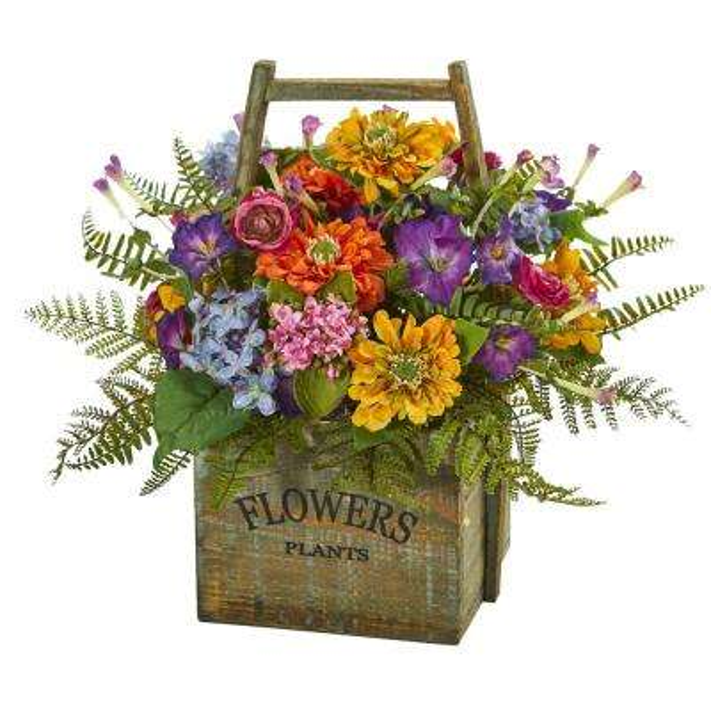 Indoor Mixed Floral Artificial Arrangement in Wood Basket