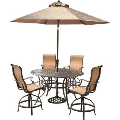 Manor 5-Piece Aluminum Round Outdoor High Dining Set with Swivels, Cast-Top Table, Umbrella and Umbrella Stand