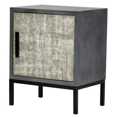 Shelly Assembled 22 in. x 22 in. x 15 in. Distressed Gray Iron Accent Storage Cabinet with a Wood Door