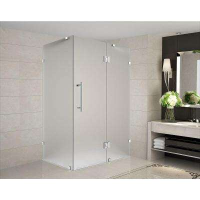 Avalux 38 in. x 34 in. x 72 in. Completely Frameless Shower Enclosure with Frosted Glass in Stainless Steel