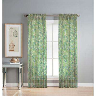 Sheer Pinehurst Printed 54 in. W x 84 in. L Rod Pocket Extra Wide Curtain Panel in Sheer Lime