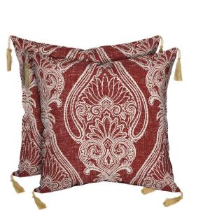 Bombay Outdoors Delhi Paisley Square Toss Outdoor Cushion Pillow with Tassels (2-Pack) by Bombay Outdoors
