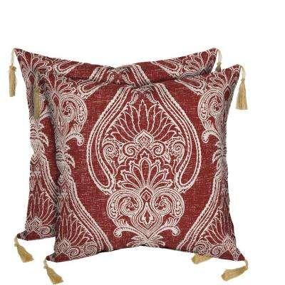 Delhi Paisley Square Toss Outdoor Cushion Pillow with Tassels (2-Pack)