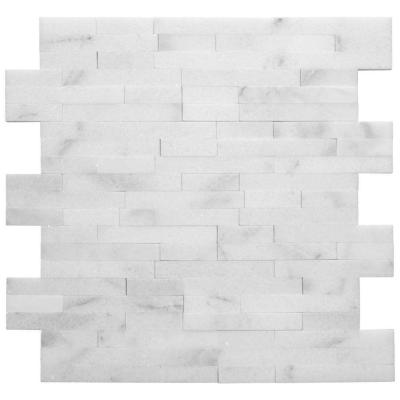 Venetian Brick White 11.625 in. x 12.5 in. Interlocking Polished Marble Mosaic Tile (1 sq. ft./Each)