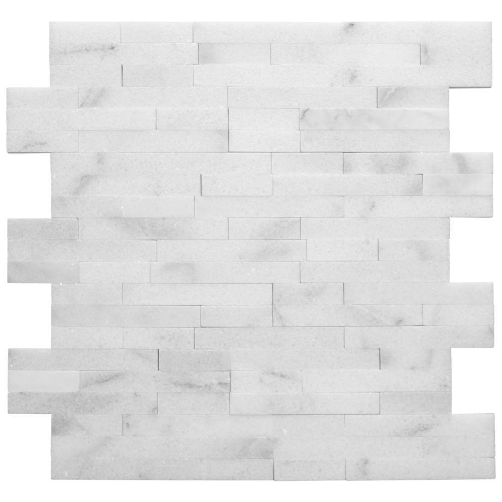 Jeffrey Court Venetian Brick White 12 in. x 12 in. x 10 mm Splitface Polished Stone Mosaic Tile