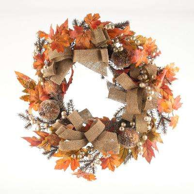 24 in. Pumpkin and White Berry Artificial Wreath