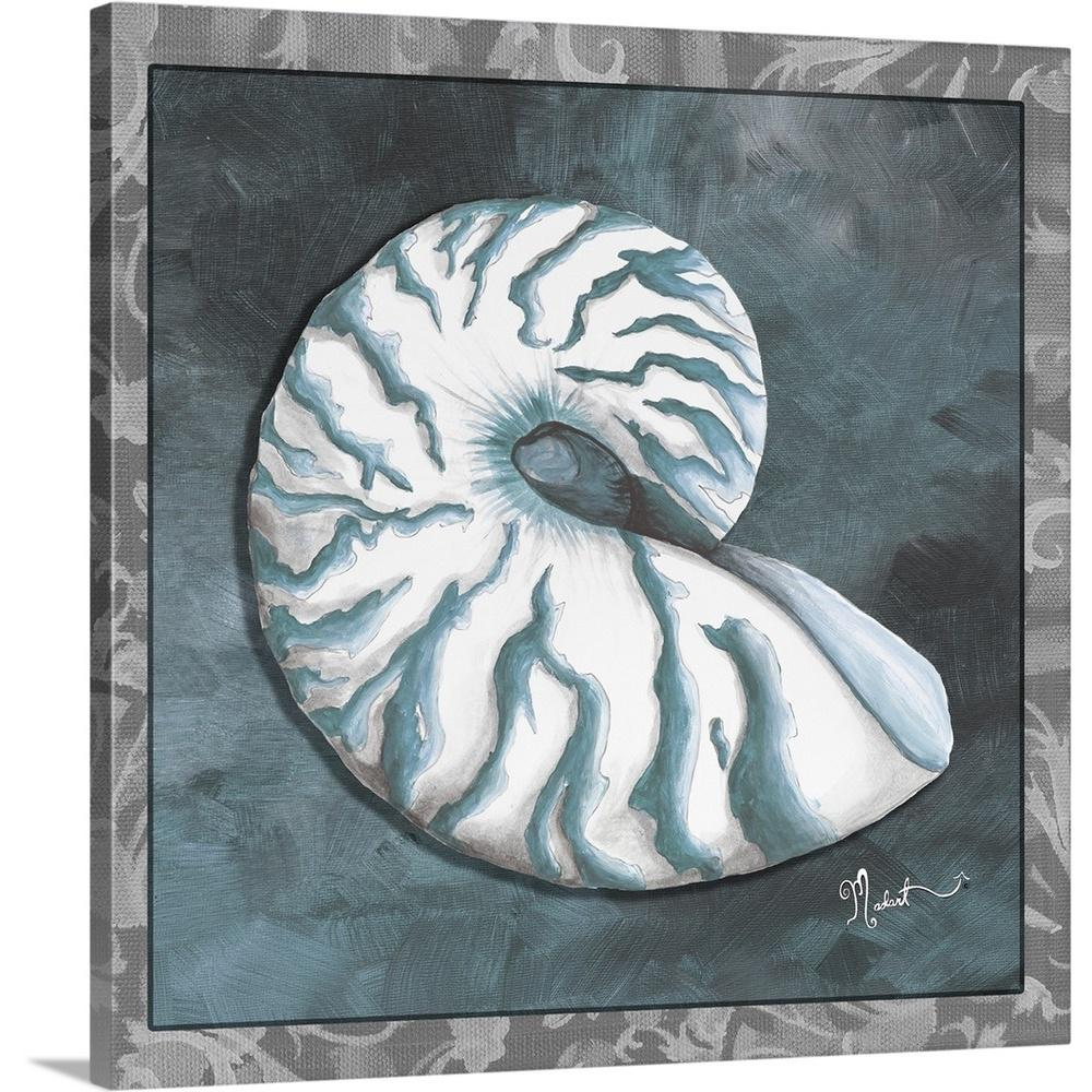 Greatbigcanvas Beachy Nautilus By Megan Duncanson Canvas Wall Art 2002367 24 36x36 The Home Depot