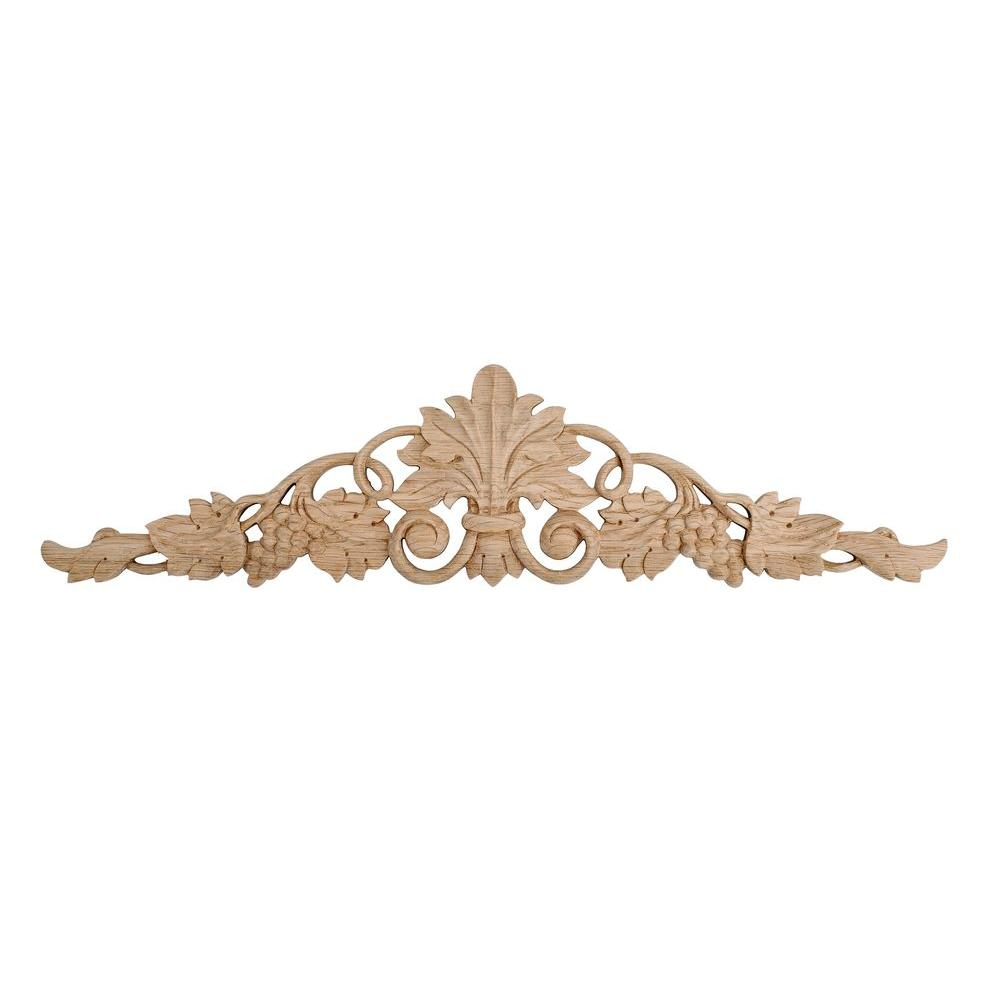 American Pro Decor 5-1/4 in. x 24-3/8 in. x 5/8 in. Unfinished Hand Carved North American Solid Red Oak Wood Onlay Grape Vine Wood Applique