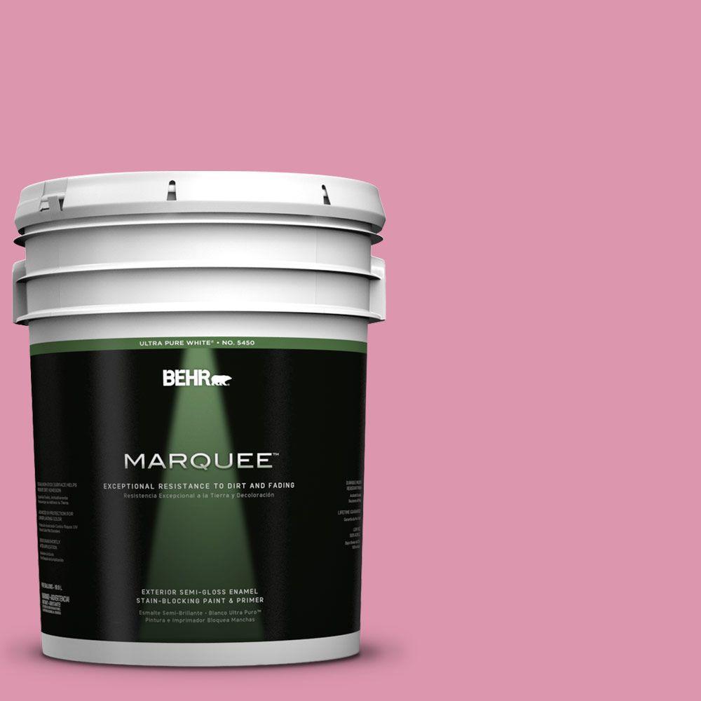BEHR MARQUEE 5-gal. #110B-4 Foxy Pink Semi-Gloss Enamel Exterior Paint