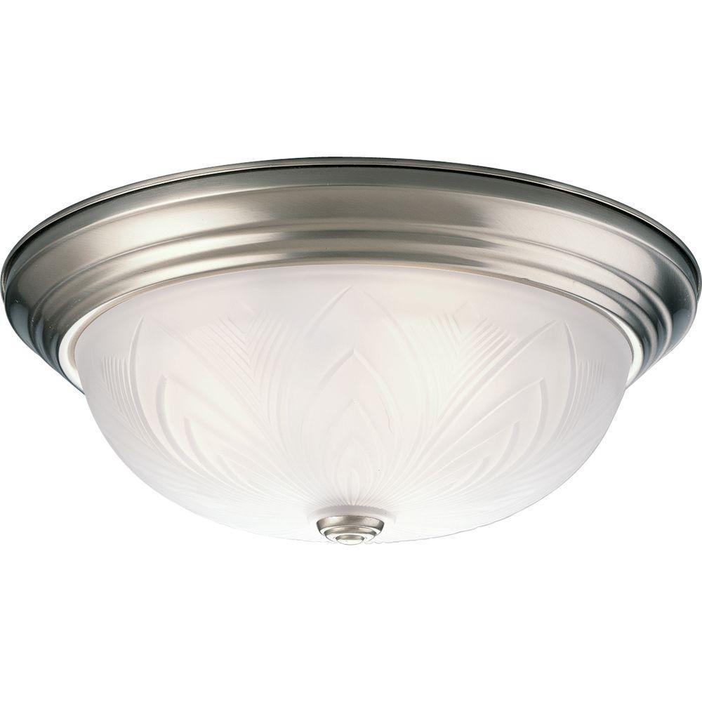 Progress Lighting Etched Glass Collection 3-Light Brushed Nickel Flushmount