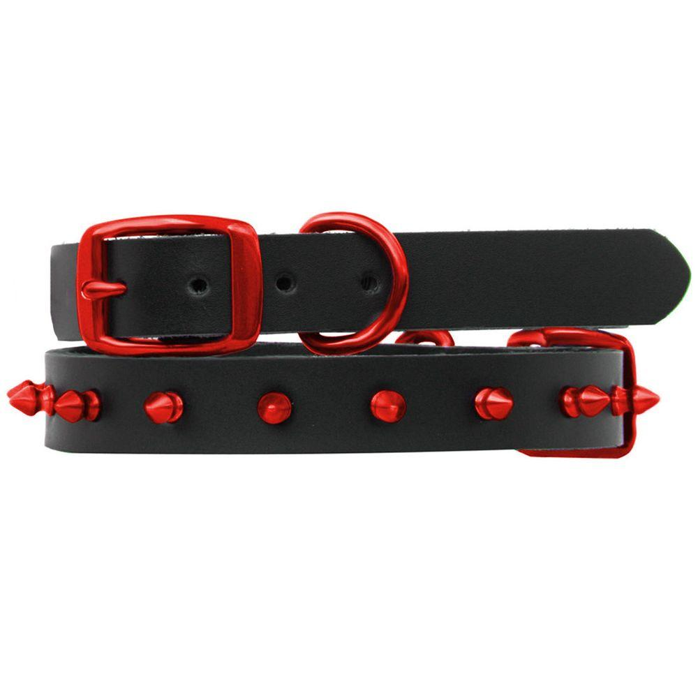 Platinum Pets 14.25 in. Black Genuine Leather Dog Collar in Red Spikes
