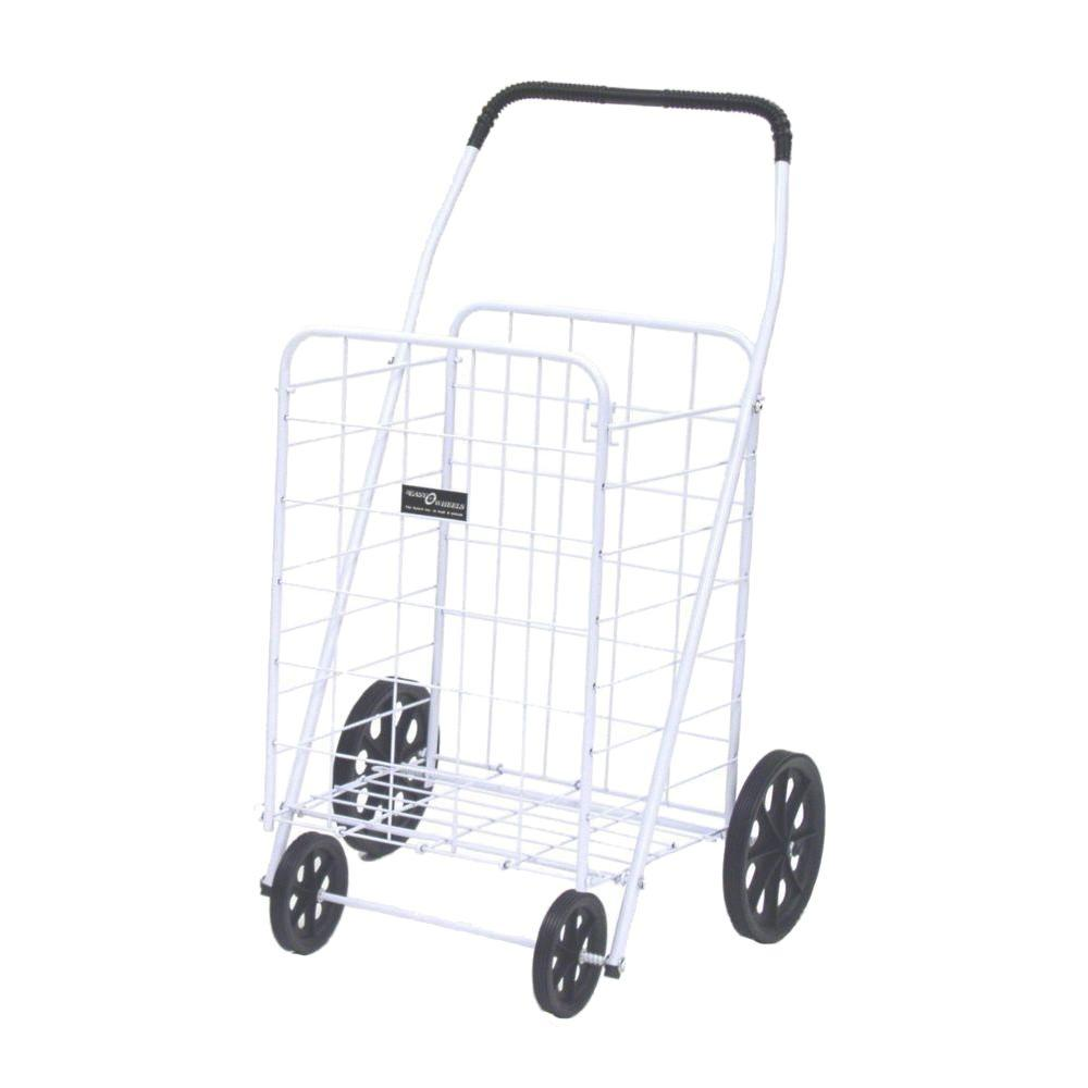 Easy Wheels Jumbo-A Shopping Cart in White The Easy Wheels Jumbo-A Shopping Cart has been the industry's premier cart with industrial strength for home use. When lying down, with the cart folded, the highest measurement is the wheels with a 9.75 in. Dia giving an incredible amount of convenience in a compact size. This particular model comes with hardened plastic and rubber-like tread. Color: White.