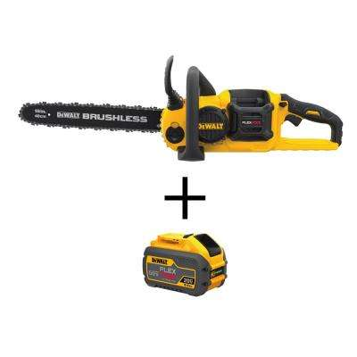 60-Volt MAX Lithium Ion Cordless FLEXVOLT Brushless 16 in. Chainsaw (Tool Only) with Bonus FLEXVOLT Li-Ion Battery