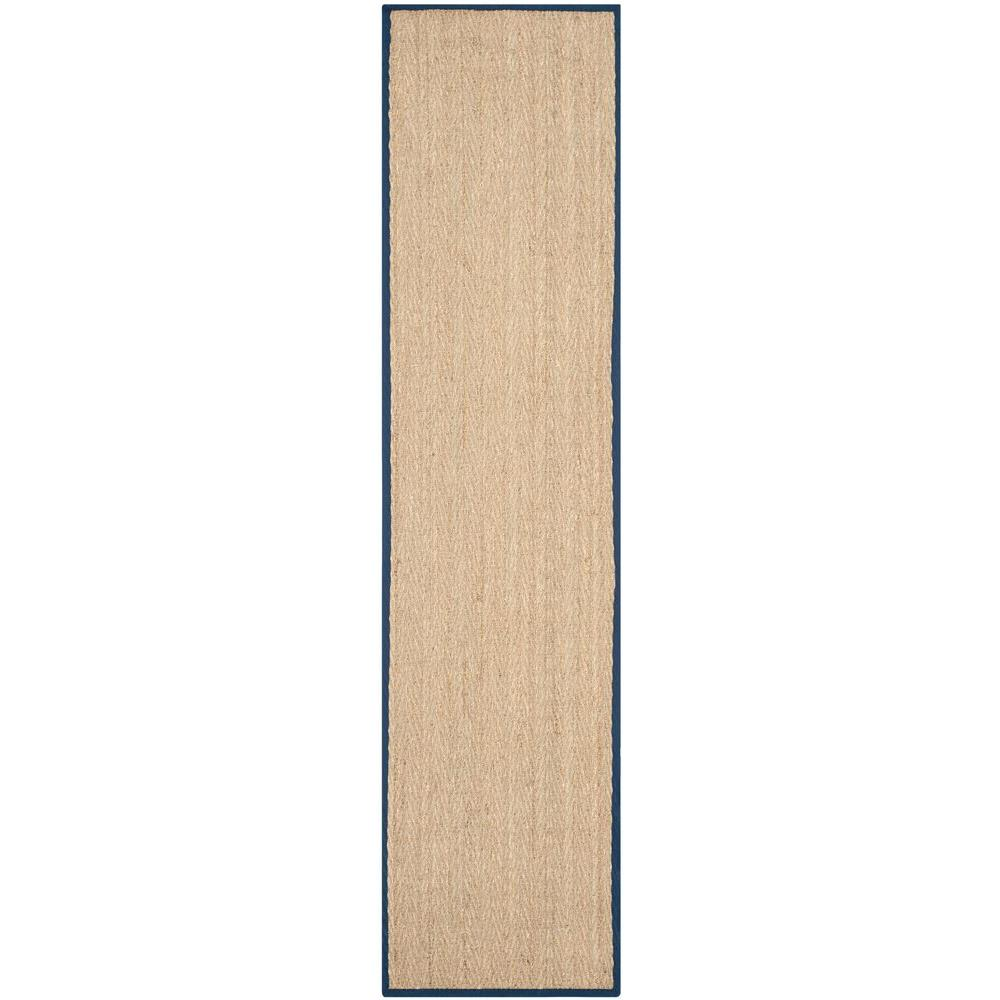 Natural Fiber Beige/Blue 2 ft. 6 in. x 12 ft. Runner