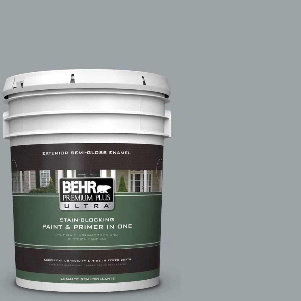 5 gal. #HDC-SM16-02 River Rock Grey Semi-Gloss Enamel Exterior Paint