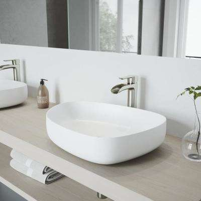 Peony Matte Stone Vessel Sink in White with Niko Vessel Faucet in Brushed Nickel