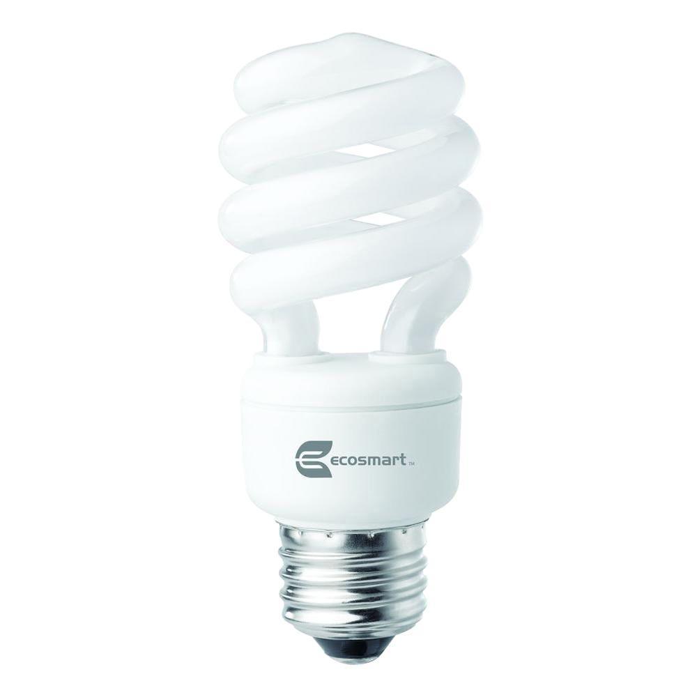 EcoSmart 60W Equivalent Daylight  Spiral CFL Light Bulb (2-Pack)