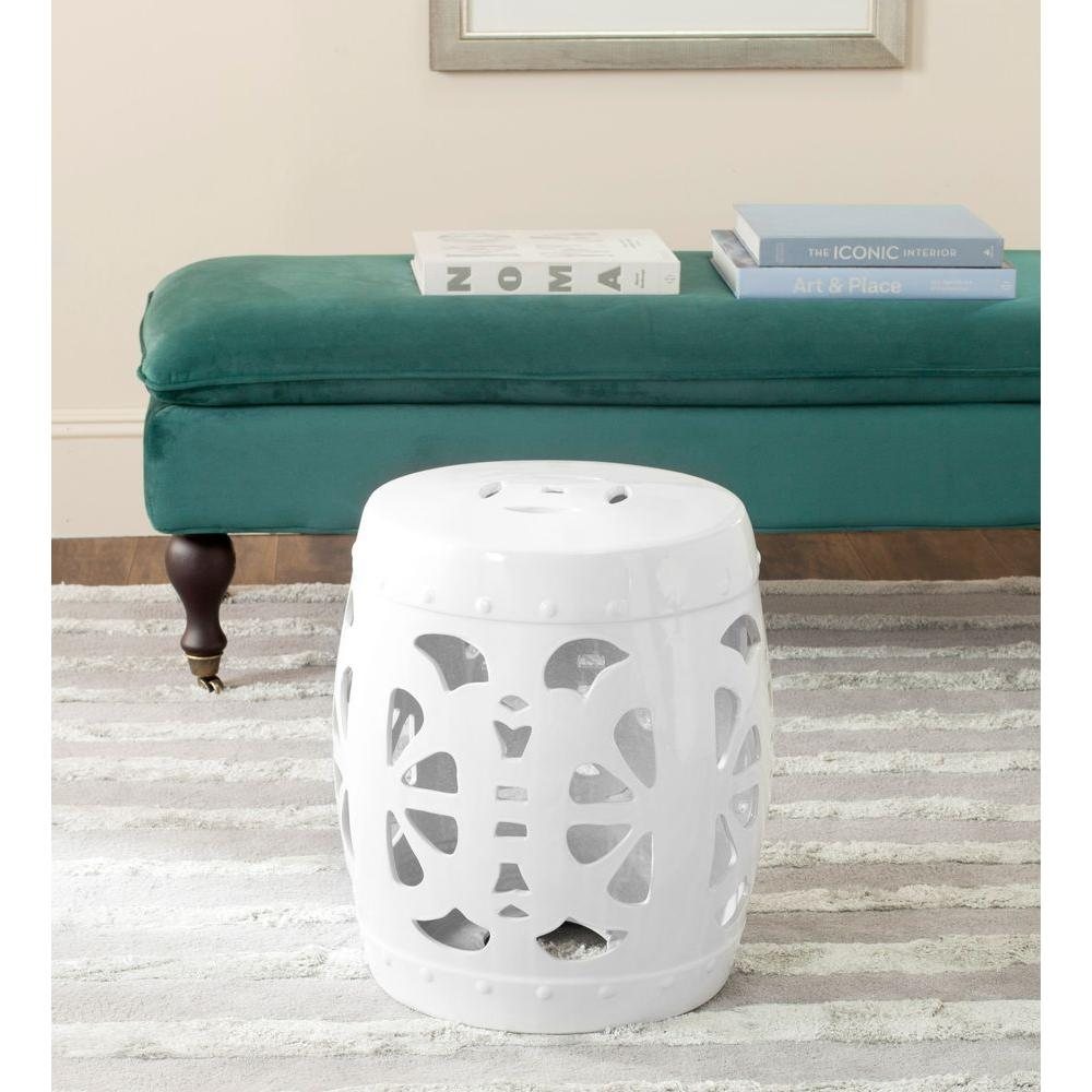 Safavieh Stencil Blossom Antique White Garden Stool Product Image