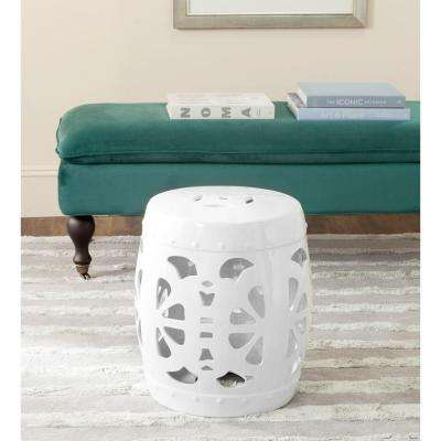 Perfect Stencil Blossom Antique White Garden Patio Stool. Spring Green; Antique  White ...