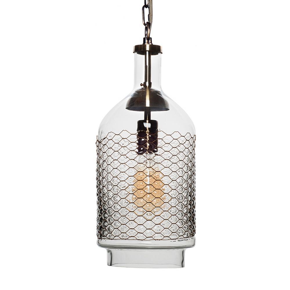 1-Light Brass Clear/Medium Industrial Edison Hand Blown Glass Pendant