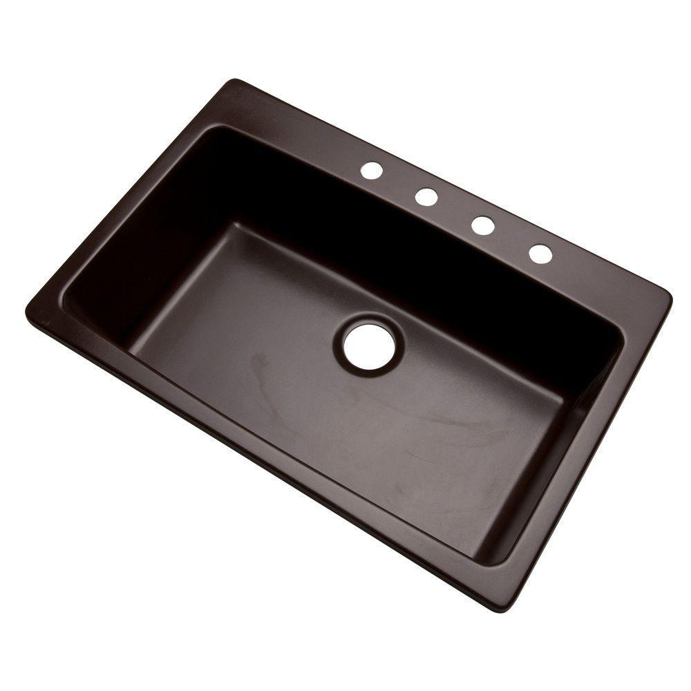 Rockland Dual Mount Composite Granite 33 in. 4-Hole Single Bowl Kitchen Sink in Espresso