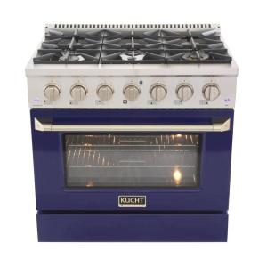 Pro-Style 36 in. 5.2 cu. ft. Propane Gas Range with Convection Oven in Stainless Steel and Blue Oven Door