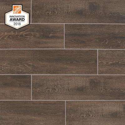 Coffee Wood 6 in. x 24 in. Glazed Porcelain Floor and Wall Tile (14.55 sq. ft. / case)