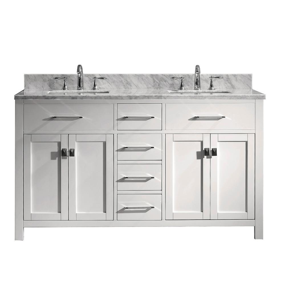 Virtu USA Caroline 60 in. W Bath Vanity in White with Marble Vanity Top in White with Square Basin
