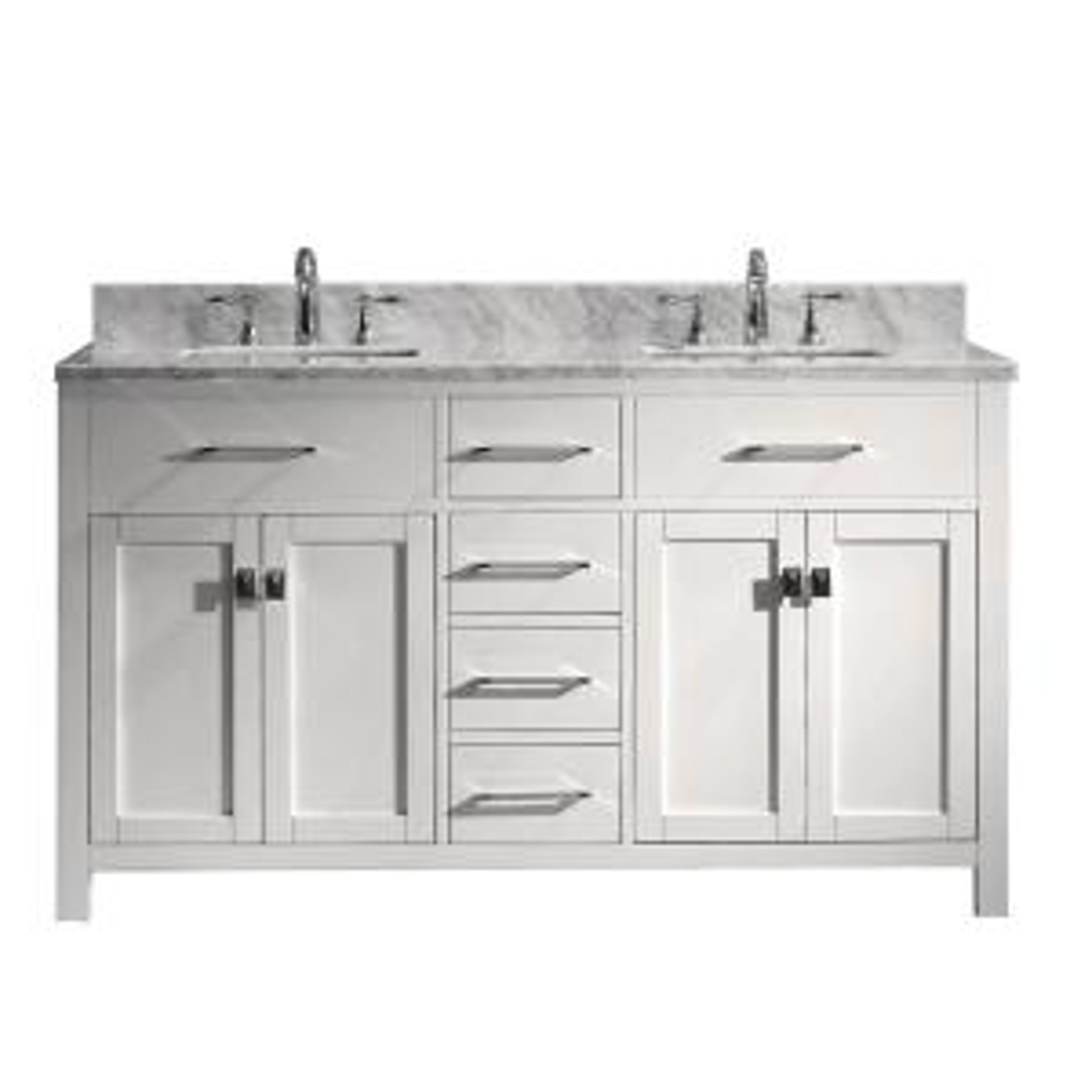 Virtu USA Caroline 60 inch W x 22 inch D Double Vanity in White with Marble Vanity Top in White with White Basin by Virtu USA