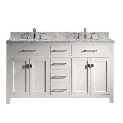 Caroline 60 in. W x 22 in. D Double Vanity in White with Marble Vanity Top in White with White Basin