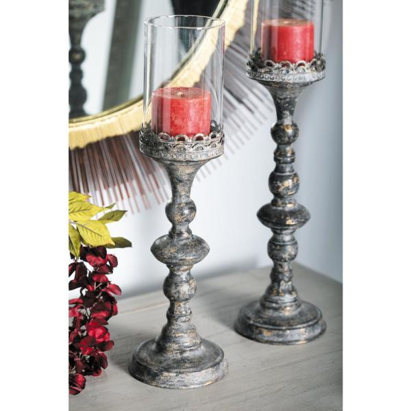 Litton Lane Distressed Black Baluster-Style Iron Candle Holders with Clear Glass