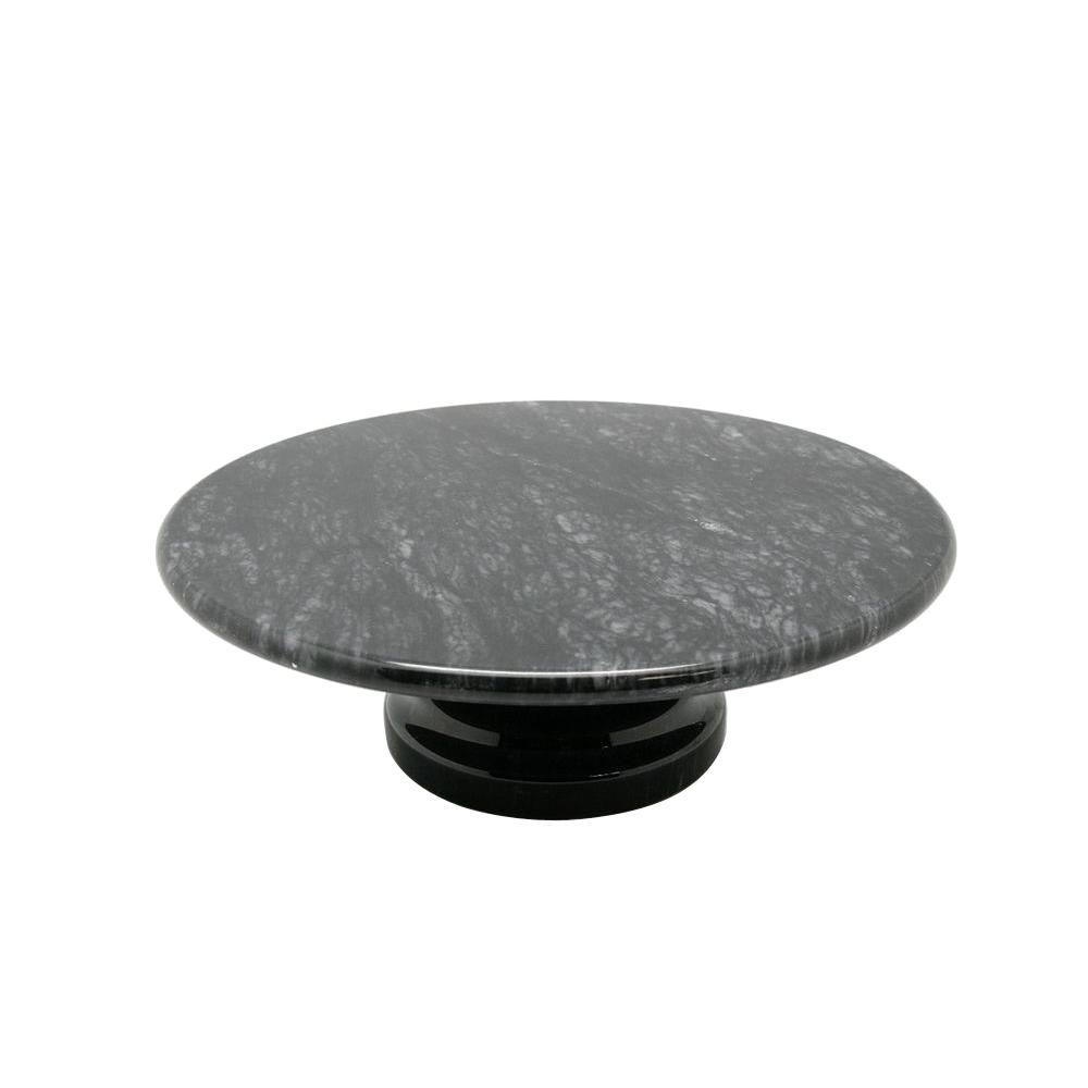 Creative Home 10 in. x 10 in. x 3.125 in. Cake Plate on Pedestal in Black Marble