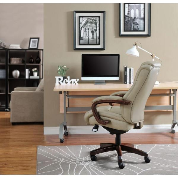 La-Z Boy Miramar Taupe Bonded Leather Executive Office Chair 45835