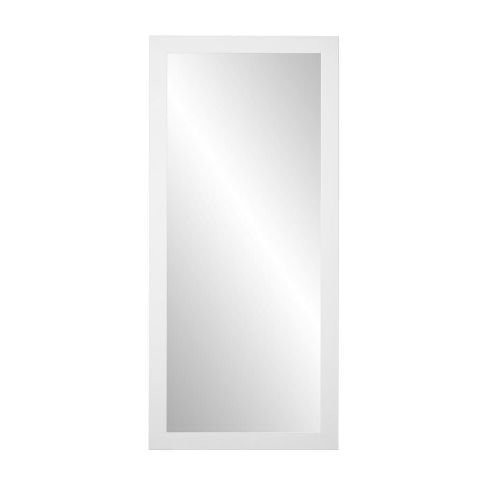 Medium Matte White Composite Hooks Modern Mirror (32 in. H X 65.5 in. W)