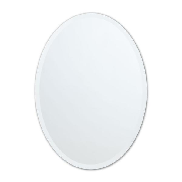 22 in. W x 28 in. H Frameless Oval Beveled Edge Bathroom Vanity Mirror