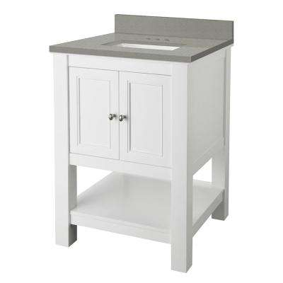 Gazette 25 in. W x 22 in. D Vanity Cabinet in White with Engineered Quartz Vanity Top in Sterling Grey with White Basin