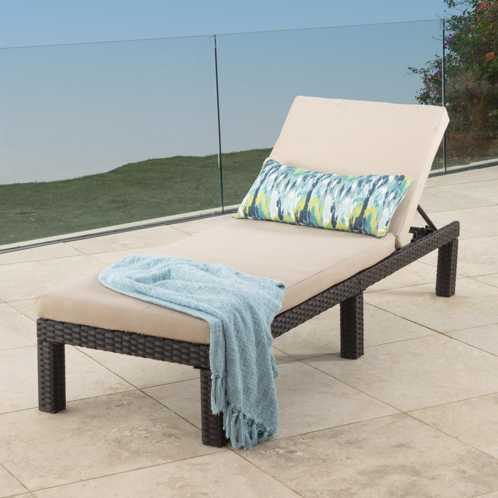 Puerta Dark Brown Wicker Outdoor Chaise Lounge with Beige Cushion