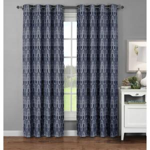 Window Elements Semi-Opaque Juneau Printed Cotton Extra Wide 96 inch L Grommet Curtain Panel Pair, Blue (Set of 2) by Window Elements